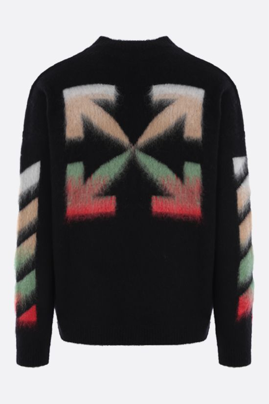 OFF WHITE: oversize wool mohair blend pullover Color Black_2