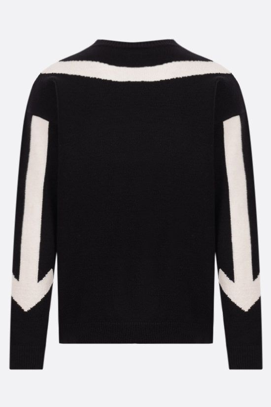 OFF WHITE: Twisted Arrows cotton blend pullover Color Black_2