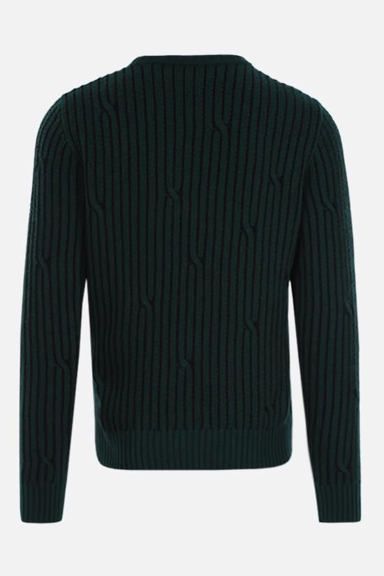 OFF WHITE: logo print wool cotton blend pullover Color Green_2