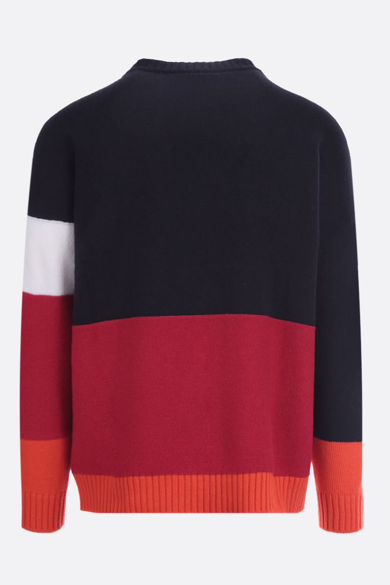 OFF WHITE: Off-White™ intarsia colour-block wool pullover Color Blue_2