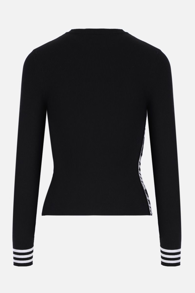 OFF WHITE: ribbed-knit pullover with logoed bands Color Black_2