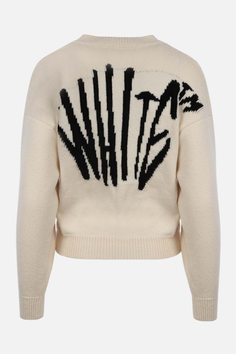 OFF WHITE: pullover Graffiti in misto lana Colore Neutro_2