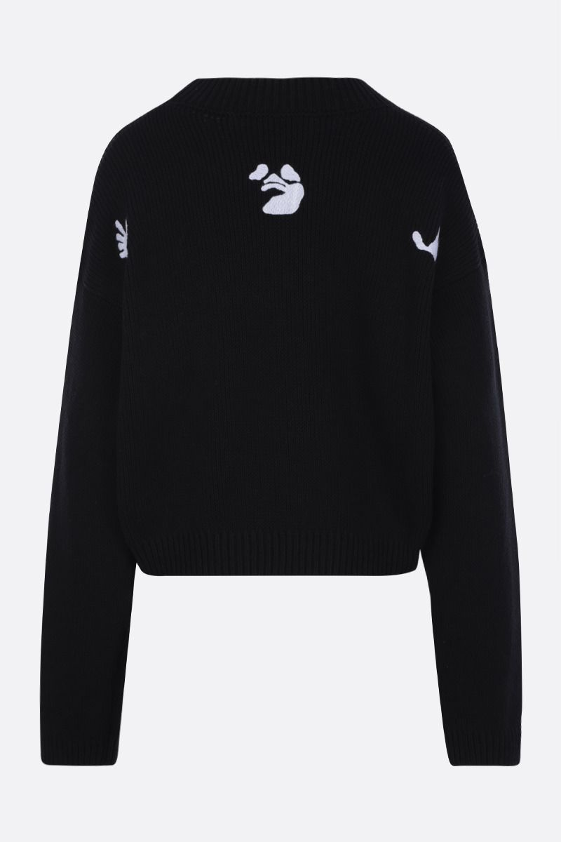OFF WHITE: New Logos cotton blend pullover Color Black_2