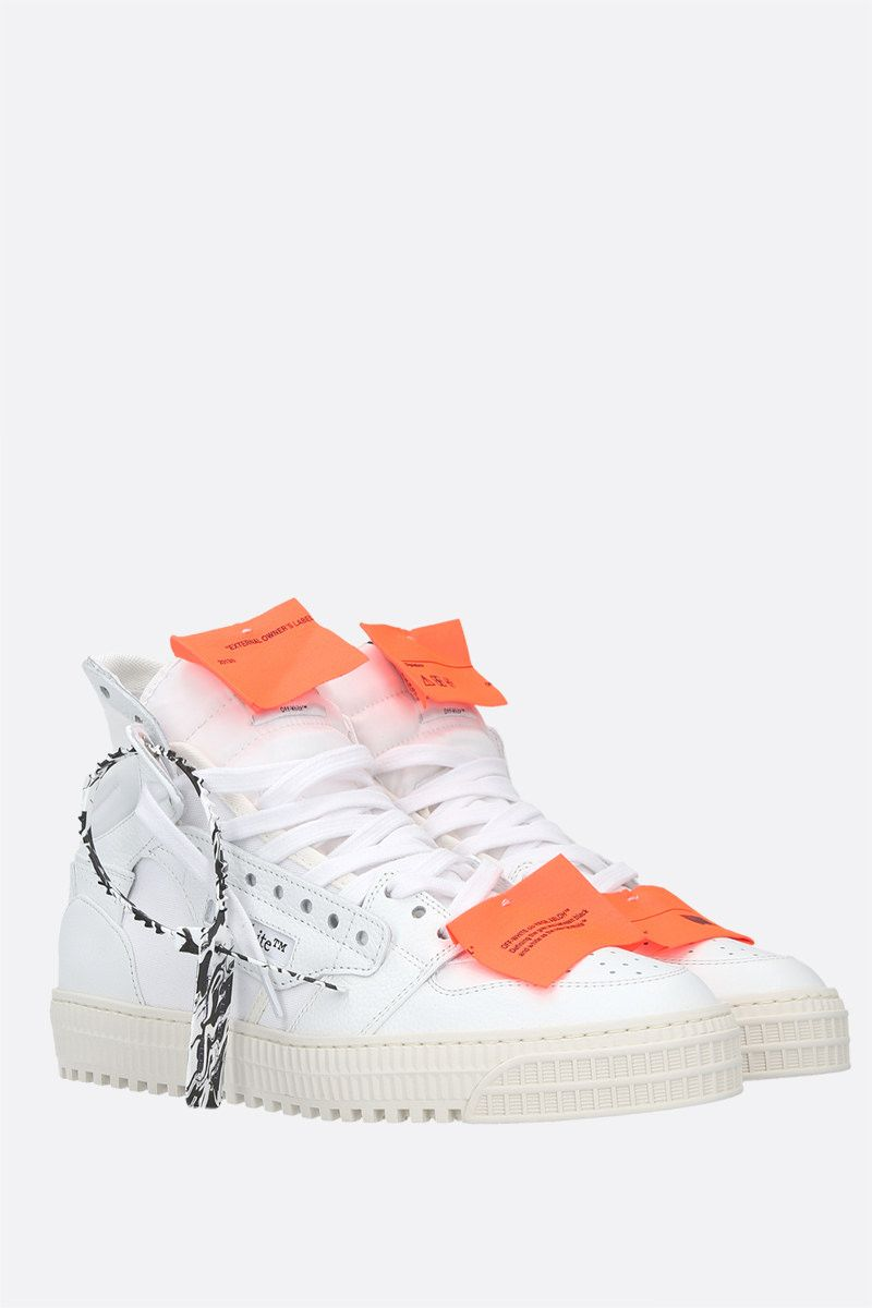 OFF WHITE: Off Court 3.0 grainy leather and canvas high-top sneakers Color White_2