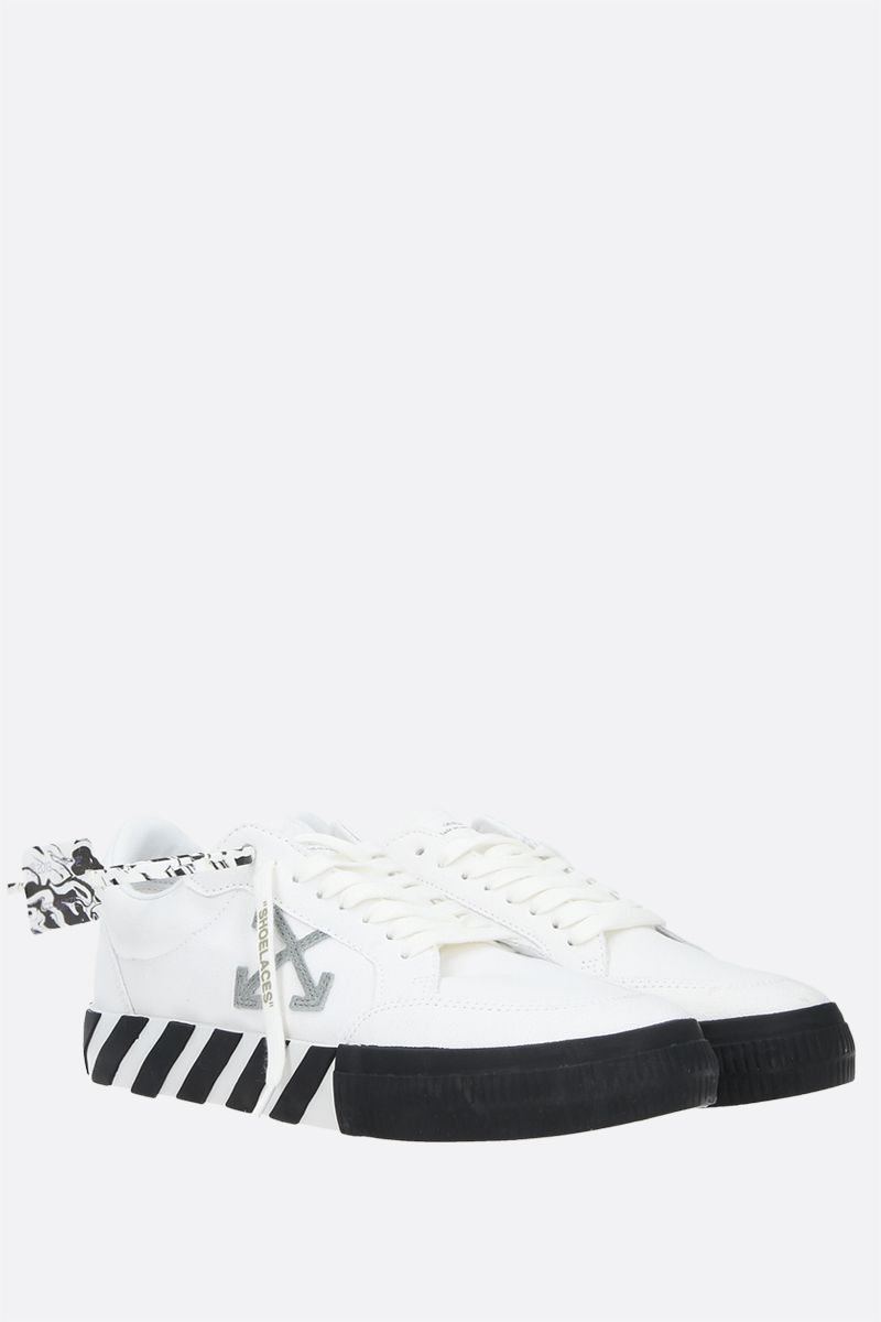 OFF WHITE: Low Vulcanized eco canvas sneakers Color White_2