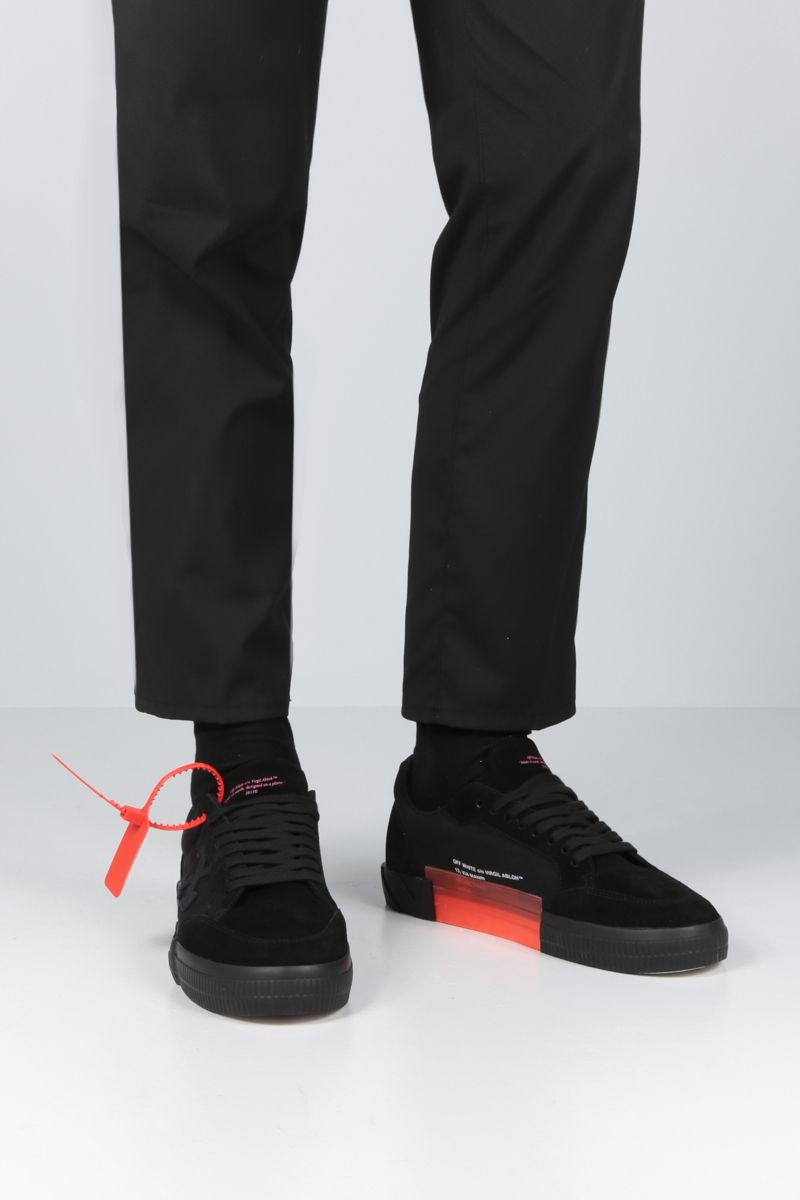 OFF WHITE: Low Vulcanized sneakers in technical fabric and suede Color Black_2
