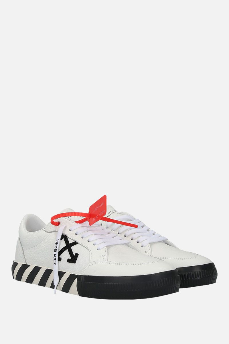 OFF WHITE: Low Vulcanized sneakers in grainy leather Color White_2