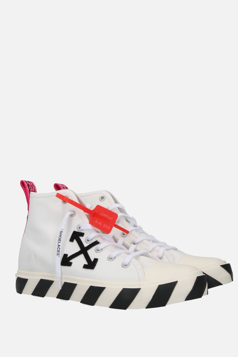 OFF WHITE: Arrow patch canvas mid-top sneakers Color White_2