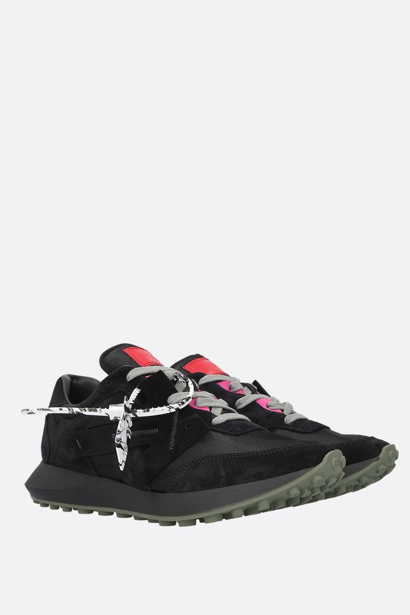 OFF WHITE: Jogging Runner mesh and suede sneakers Color Black_2