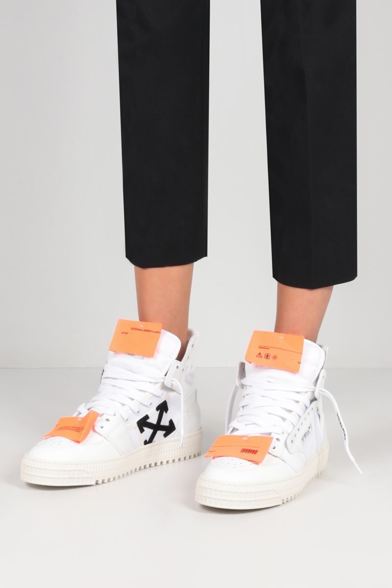 OFF WHITE: Off-Court 3.0 grainy leather and canvas high-top sneakers Color White_2