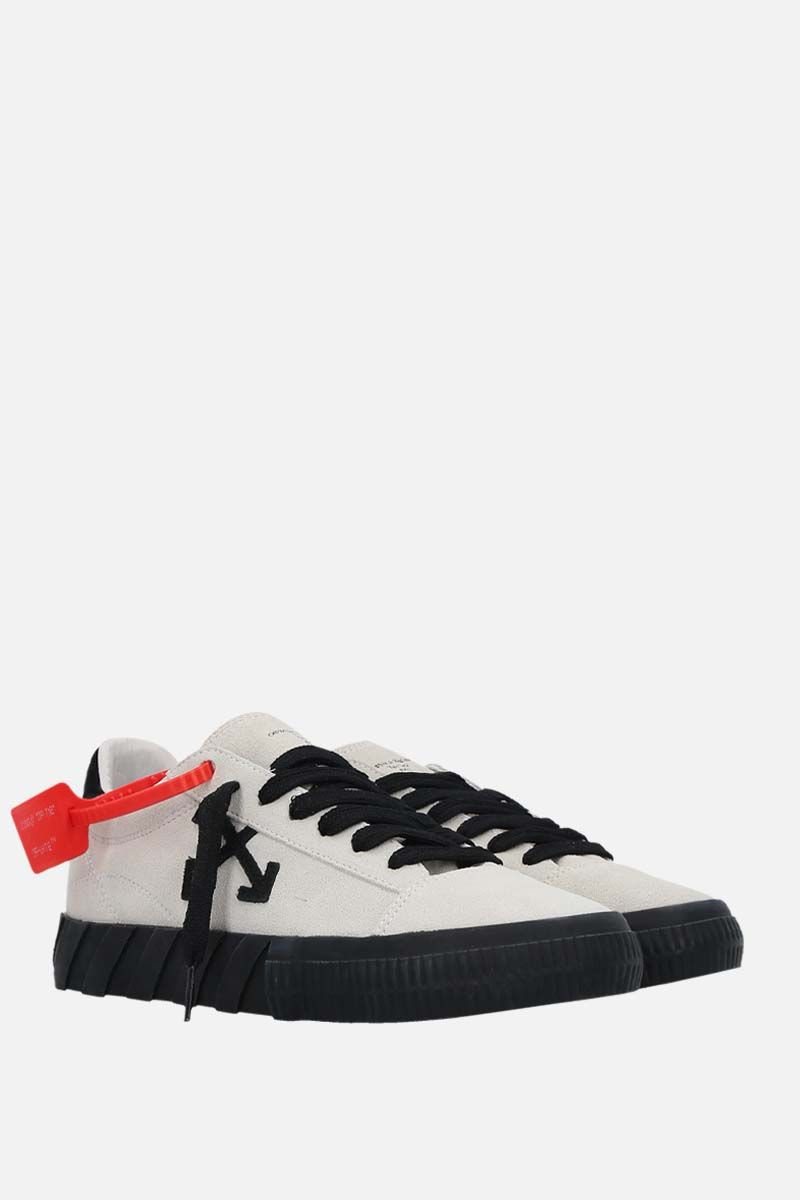 OFF WHITE: Low Vulcanized suede sneakers Color White_2