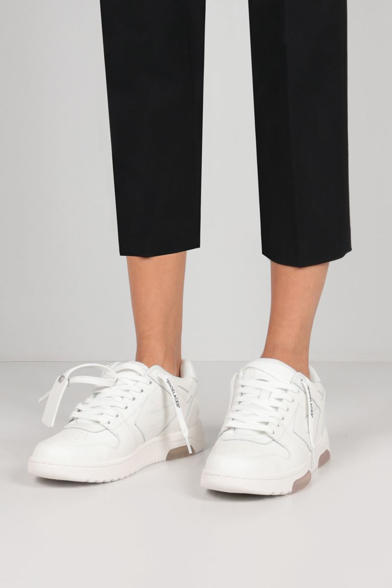 OFF WHITE: Out Of Office smooth leather sneakers Color White_2