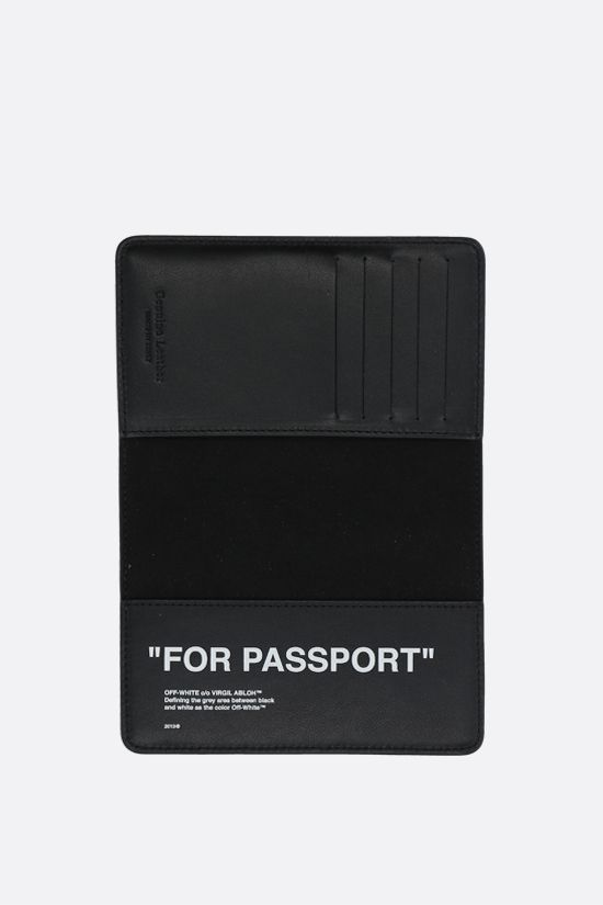 OFF WHITE: Quote smooth leather passport holder Color Black_2