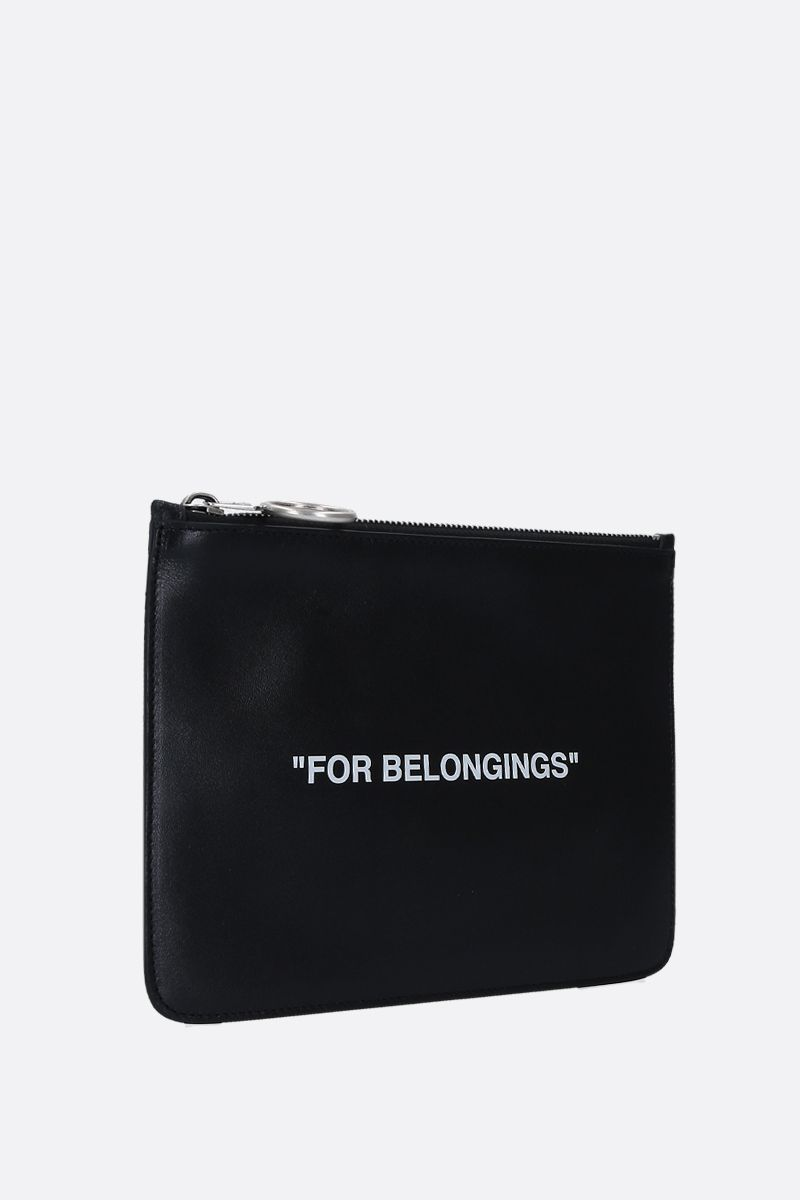 OFF WHITE: Quote pouch in smooth leather Color Black_2