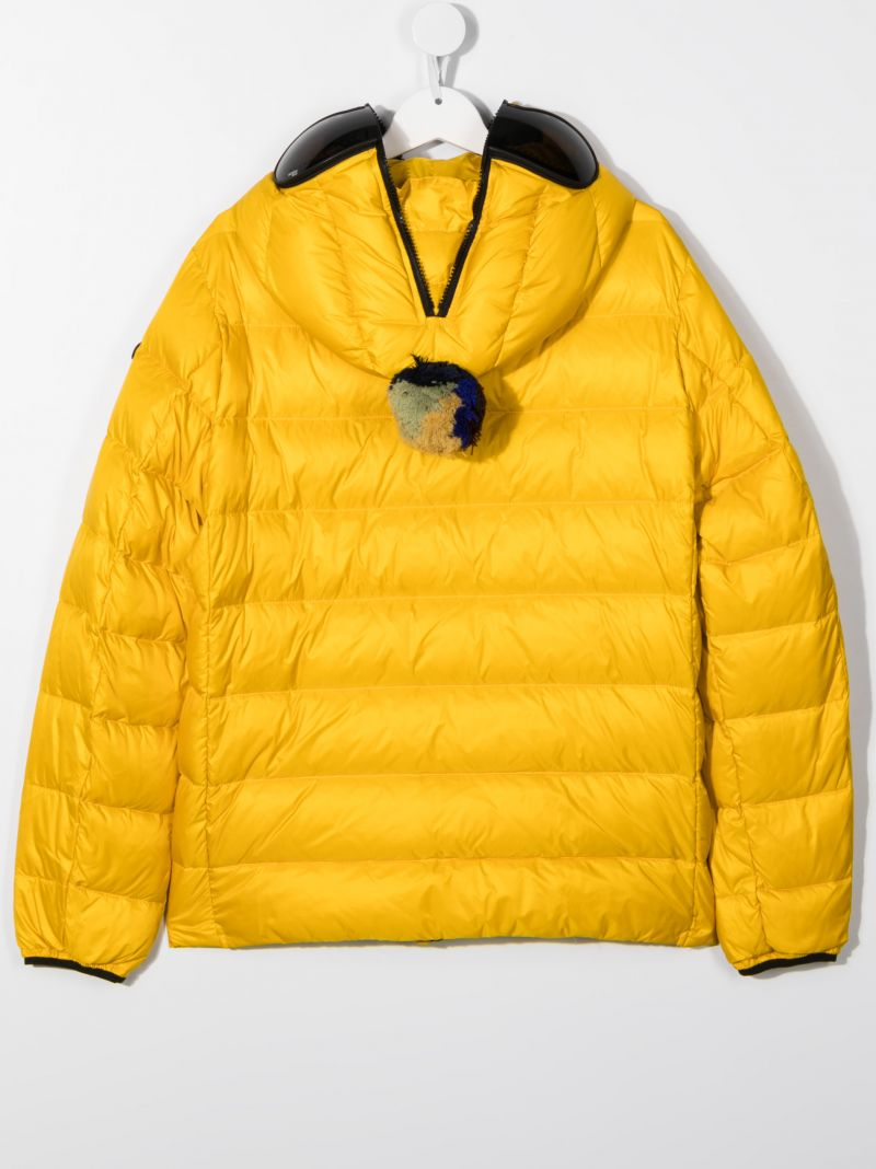 AI RIDERS ON THE STORM KIDS: pom pom-detailed nylon down jacket Color Yellow_2