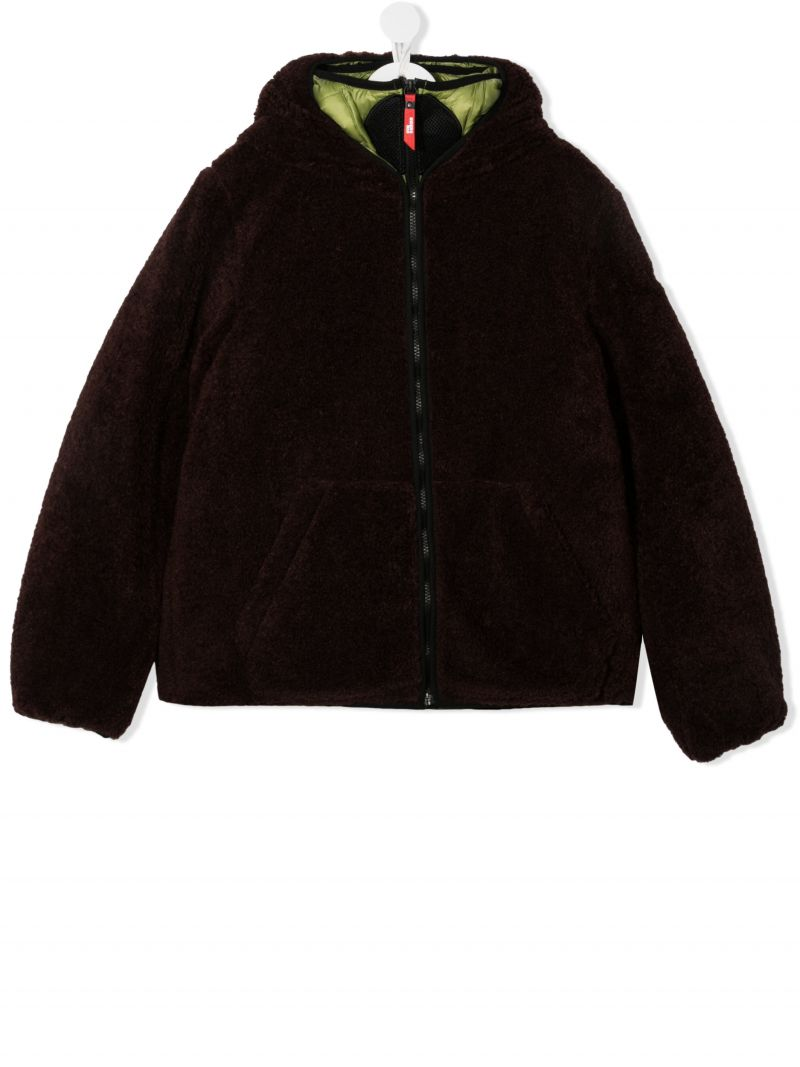 AI RIDERS ON THE STORM KIDS: pom pom-detailed faux fur jacket Color Brown_1