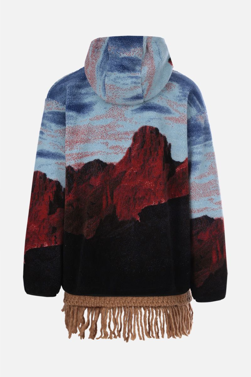 PALM ANGELS: Canyon print fleece oversize jacket Color Blue_2