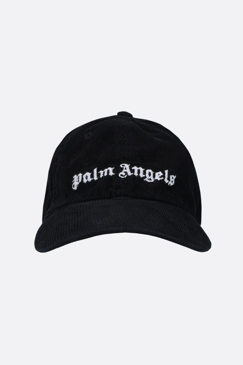 PALM ANGELS: Classic Logo ribbed velvet baseball cap Color Black_1