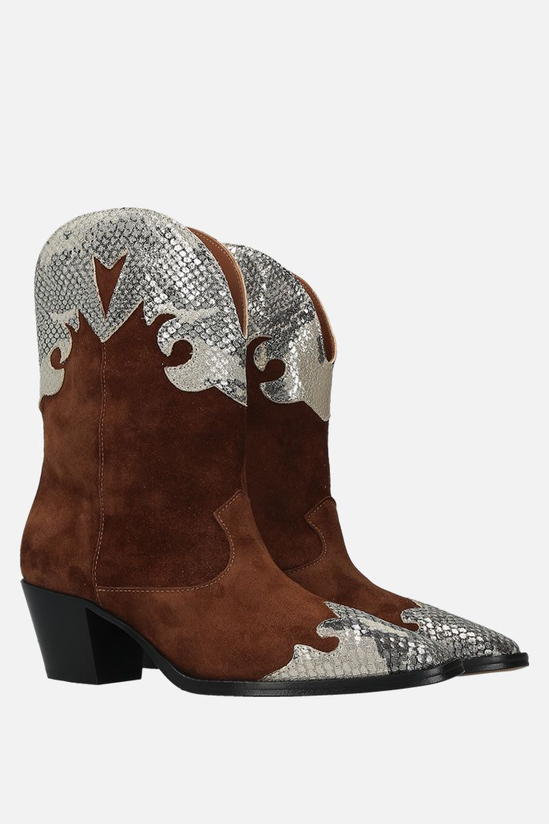 PARIS TEXAS: suede and python embossed leather western boots Color Brown_2