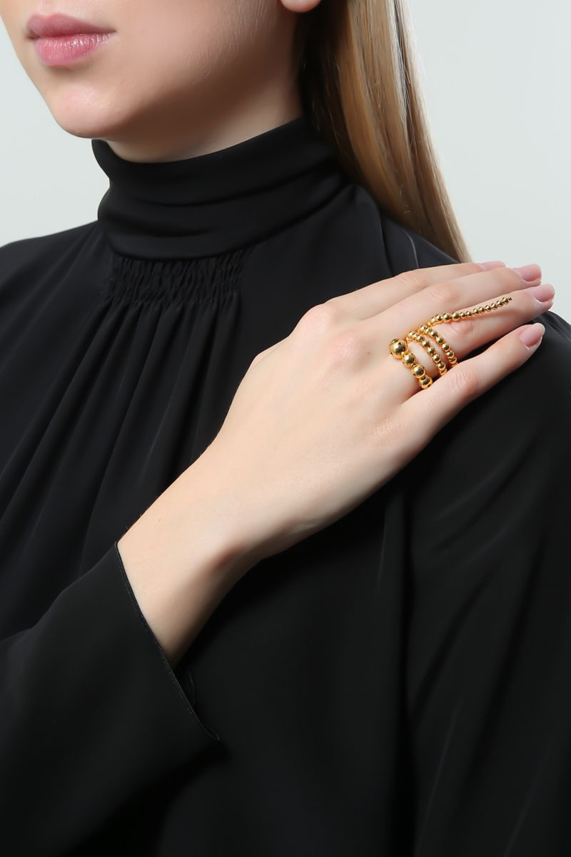 PAULA MENDOZA: Triple Adriane gold plated brass rings Color Gold_2