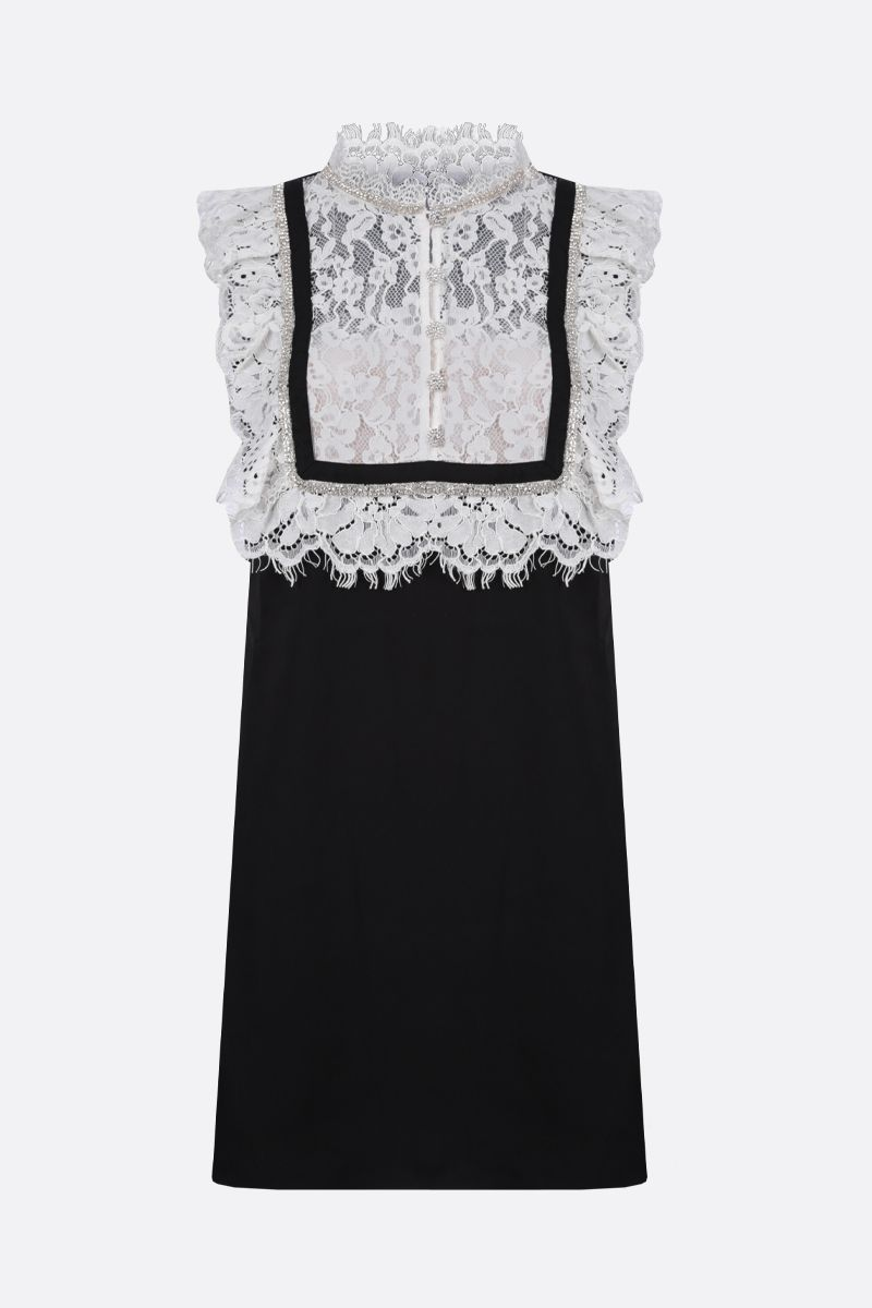 SELF PORTRAIT: crepe and lace sleeveless minidress Color White_1