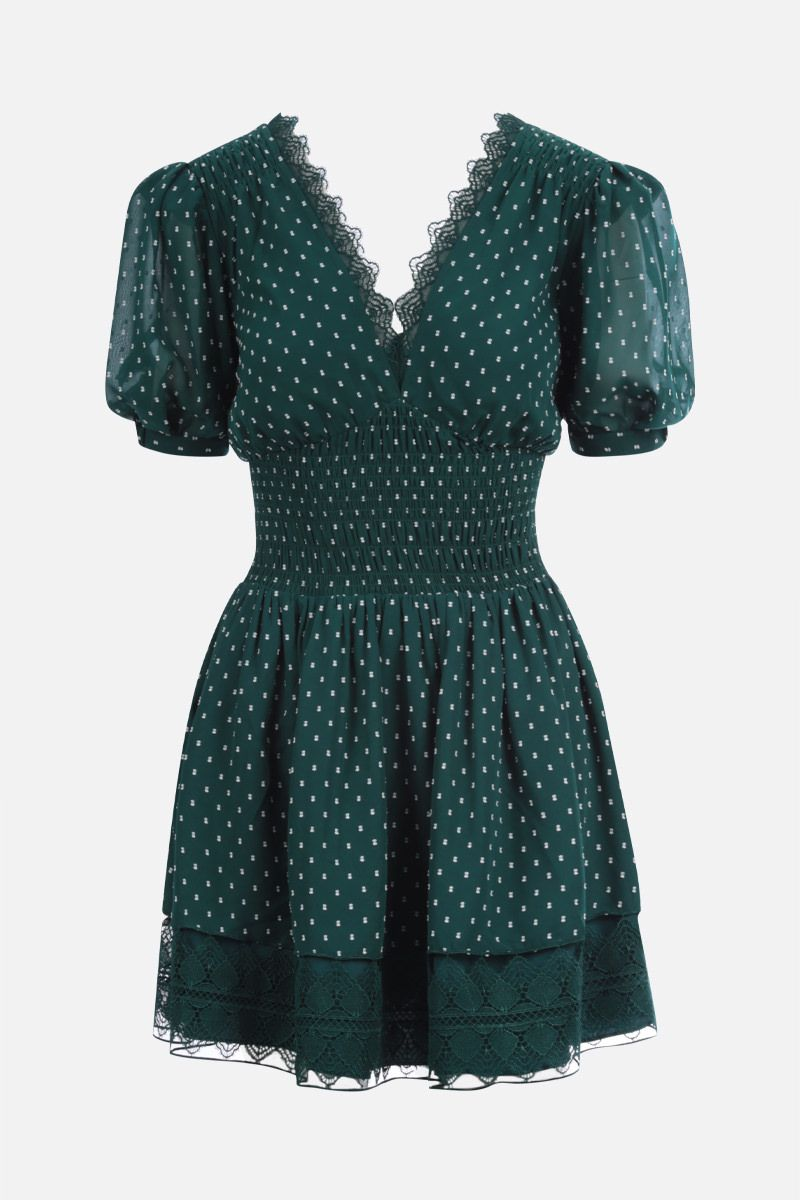 SELF PORTRAIT: lace-trimmed plumetis minidress Color Green_1