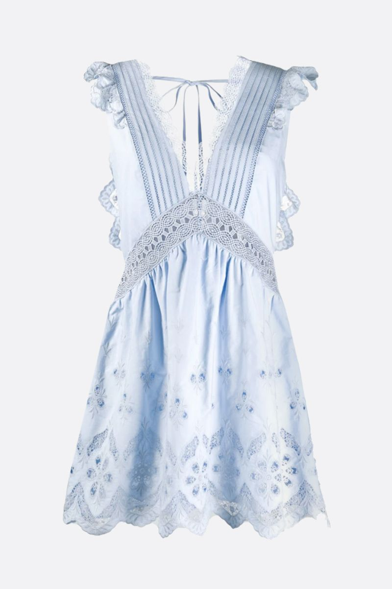 SELF PORTRAIT: broderie anglaise sleeveless minidress Color Blue_1