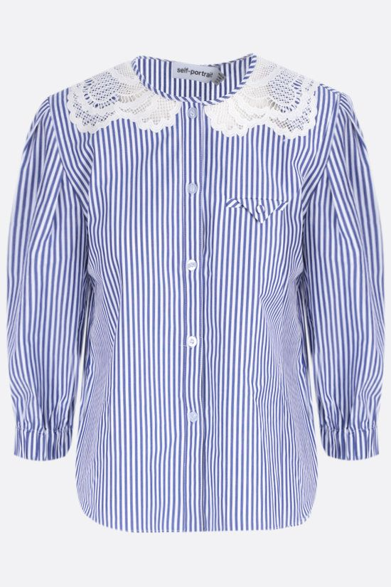 SELF PORTRAIT: lace collar striped cotton shirt Color Blue_1