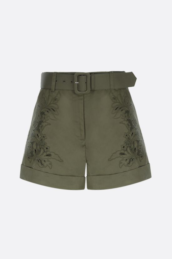 SELF PORTRAIT: floral embroidered cotton shorts Color Green_1