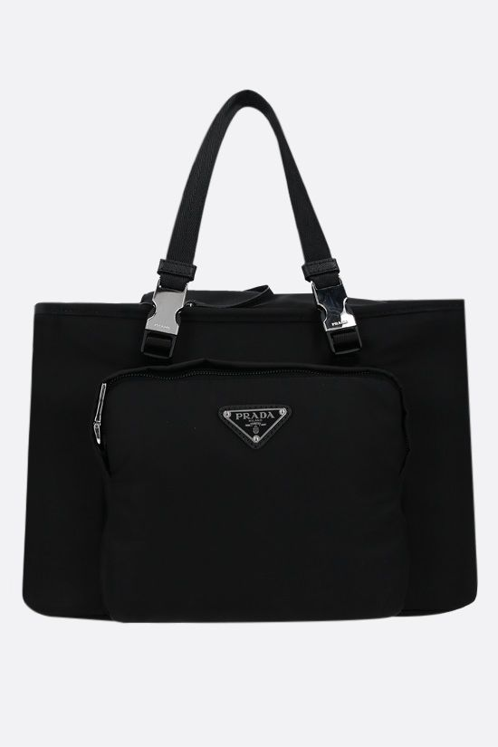 PRADA: Re-Nylon and mesh pet bag Color Black_1
