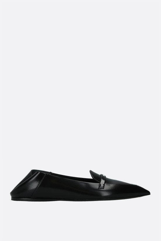 PRADA: logo-detailed brushed leather slippers Color Black_2
