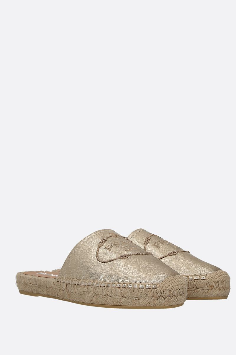PRADA: Madras leather slippers Color Grey_2