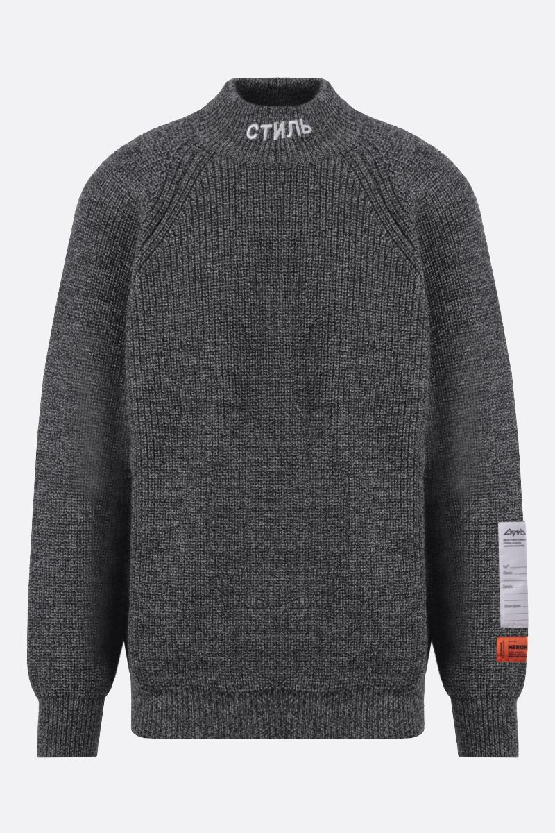 HERON PRESTON: CTNMB embroidered wool pullover Color Grey_1