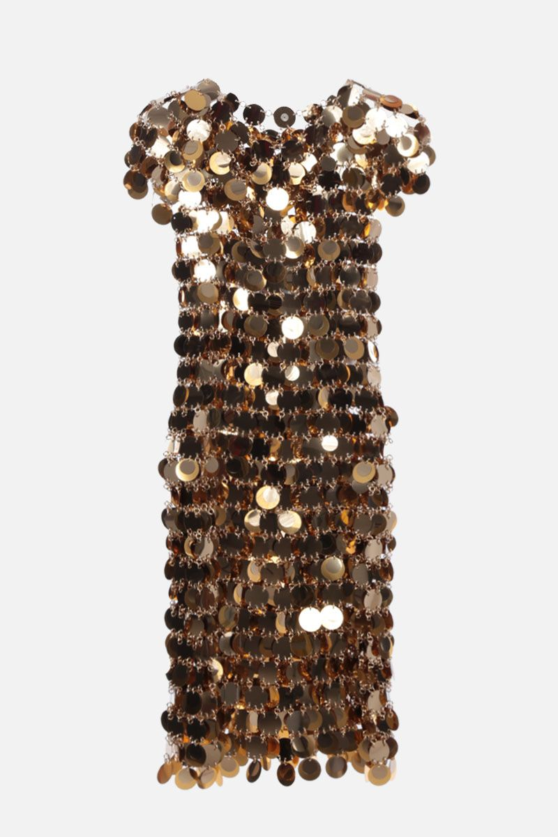 PACO RABANNE: sleeveless mirror-effect discs minidress Color Gold_1