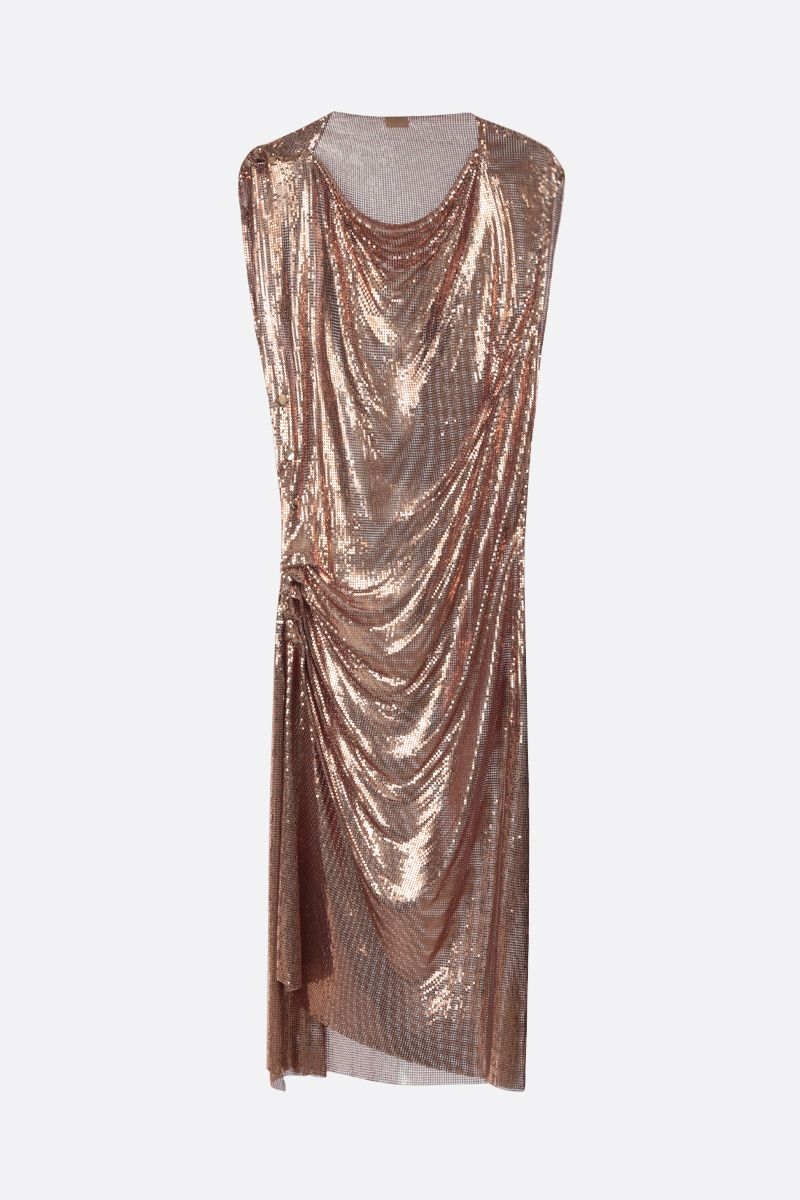 PACO RABANNE: metal mesh sleeveless dress Color Gold_1