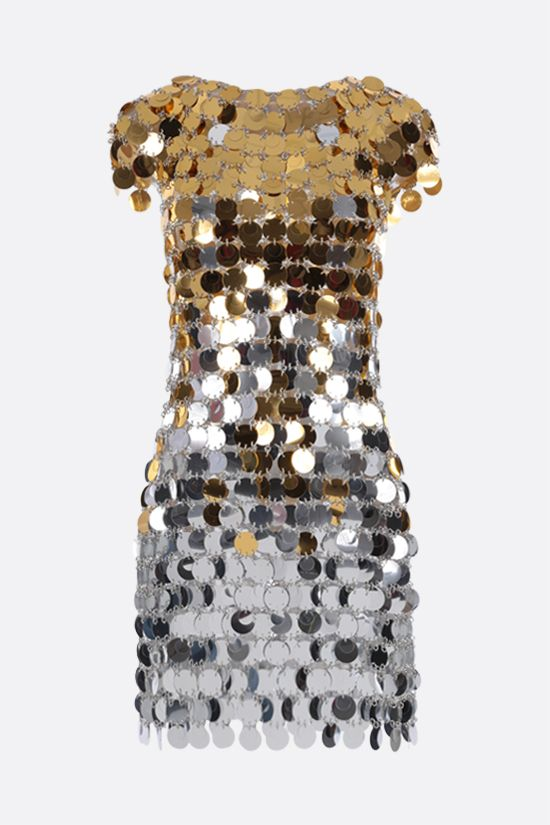PACO RABANNE: circular mirror-effect discs minidress Color Silver_1
