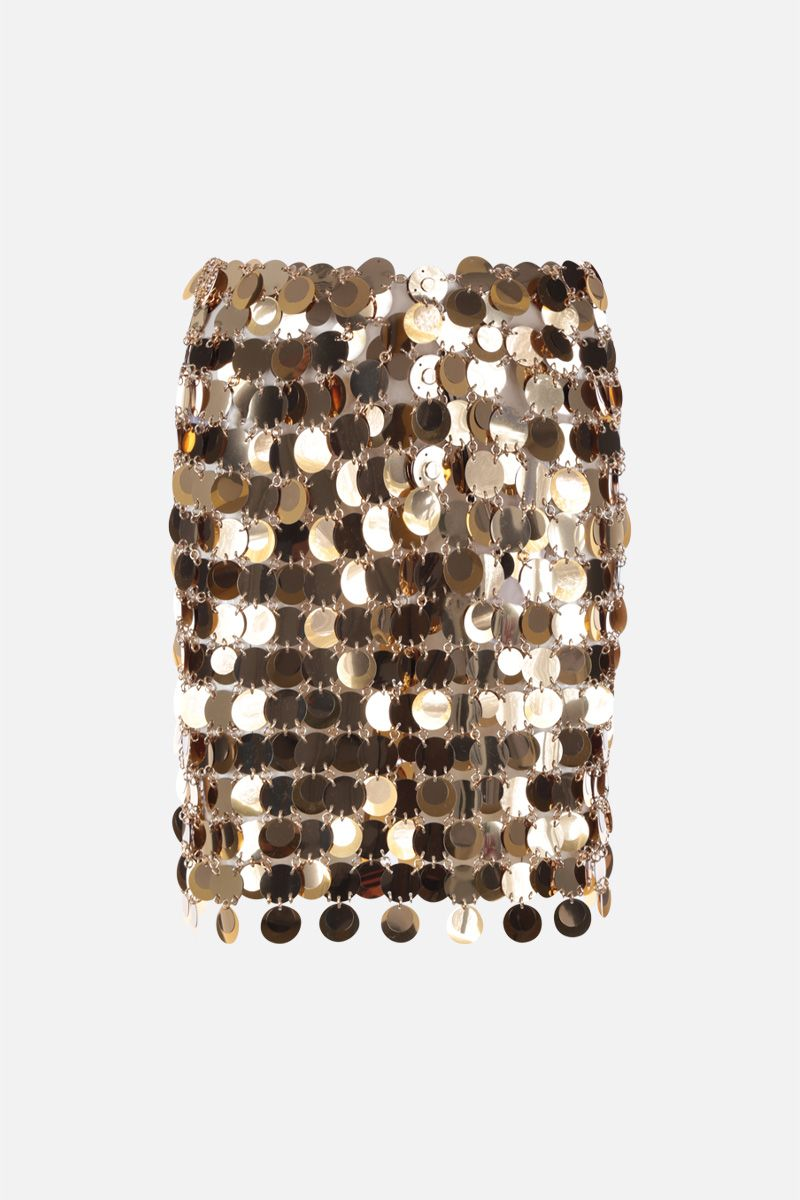 PACO RABANNE: circular mirror-effect discs mini skirt Color Gold_1