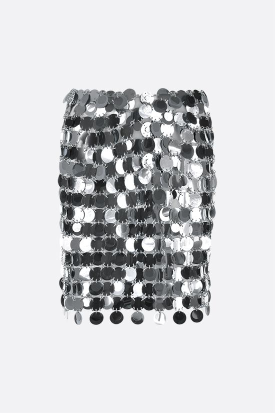 PACO RABANNE: Sparkle circular mirror-effect discs miniskirt Color Silver_1