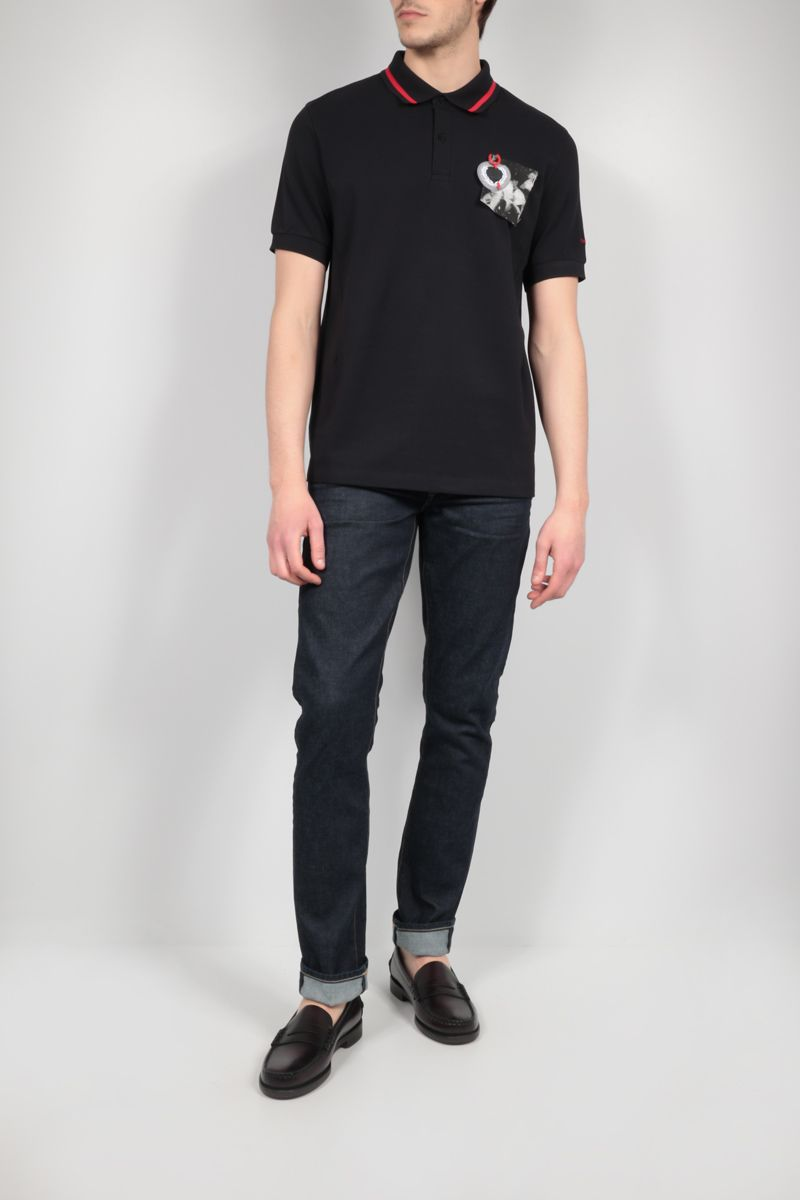 FRED PERRY X RAF SIMONS: patch-detailed piquet polo shirt Color Black_2