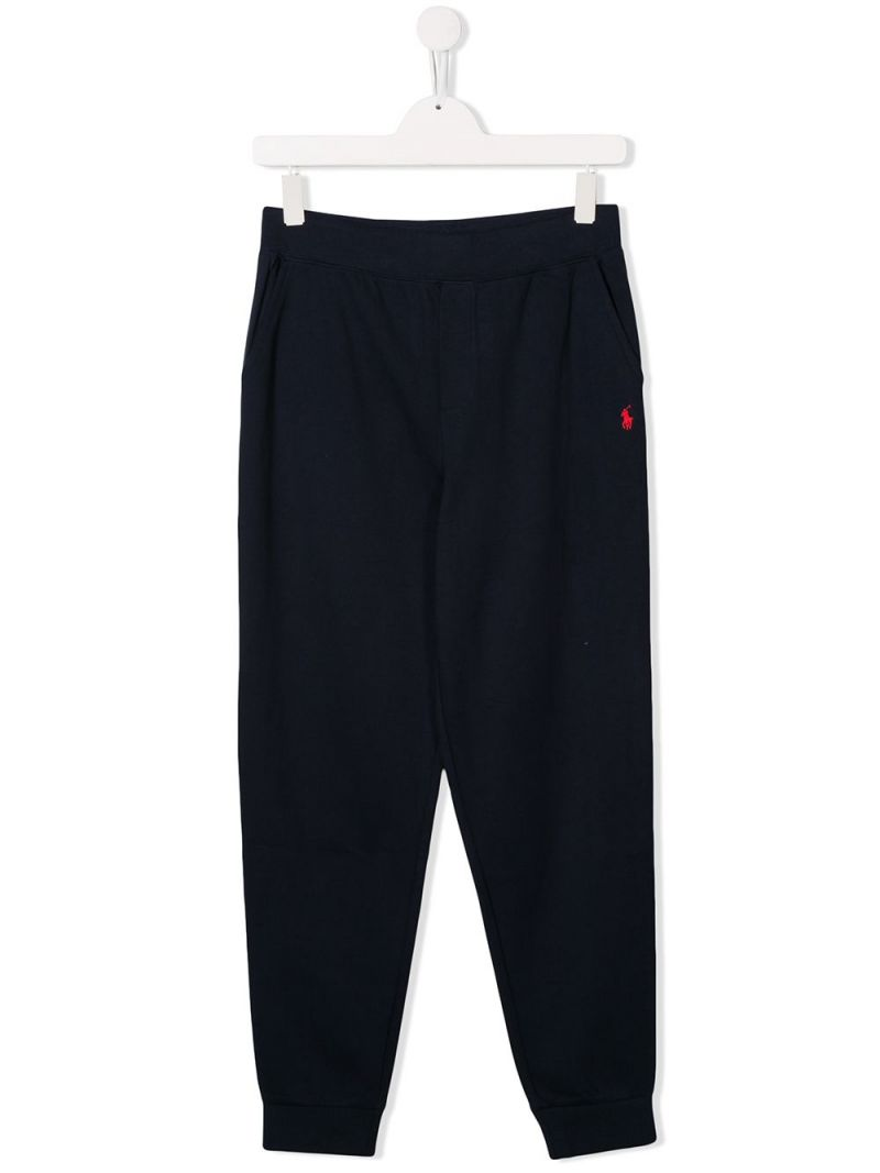 RALPH LAUREN KIDS: pantalone jogging in jersey ricamo Pony Colore Blu_1