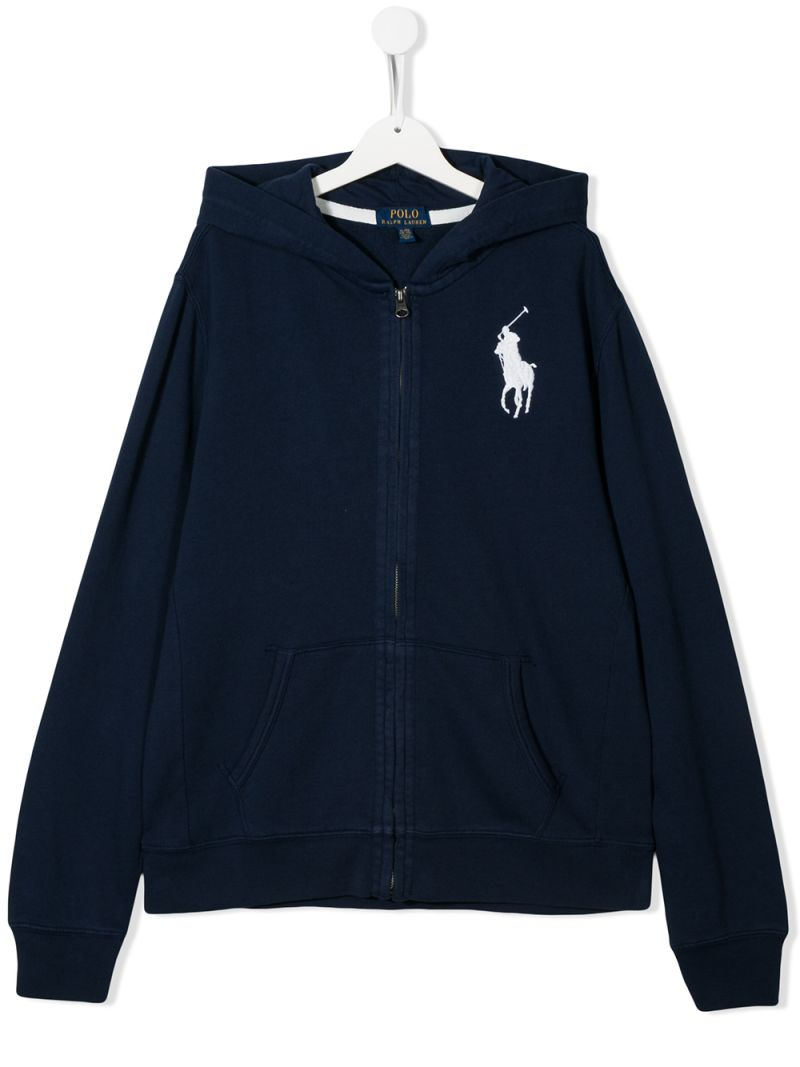 RALPH LAUREN KIDS: felpa full-zip in cotone ricamo Big Pony Colore Blu_1