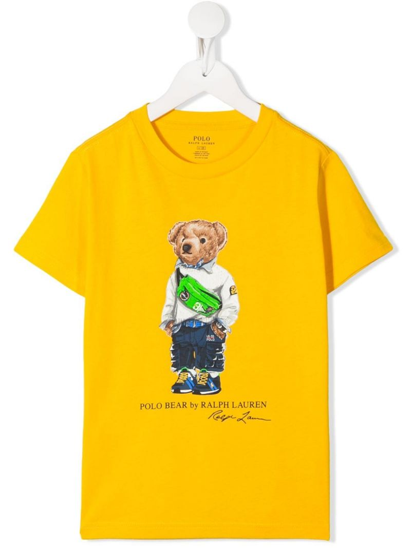 RALPH LAUREN KIDS: Fanny Pack Bear print cotton t-shirt Color Yellow_1