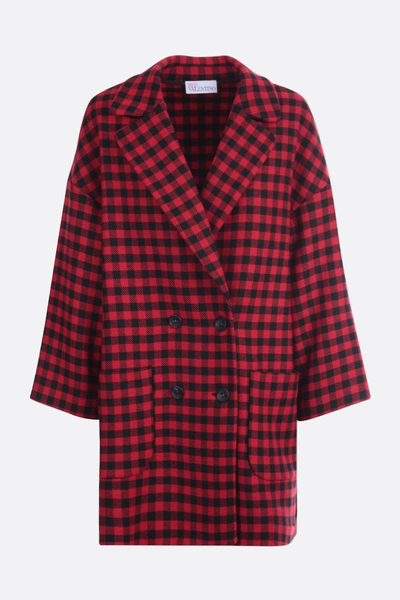 RED VALENTINO: check wool blend double-breasted coat Color Black_1