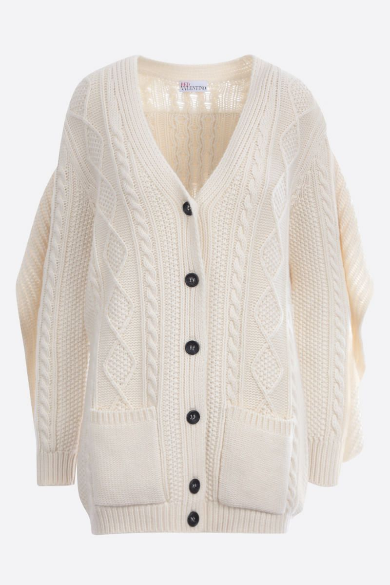 RED VALENTINO: wool cashmere blend cardigan Color White_1