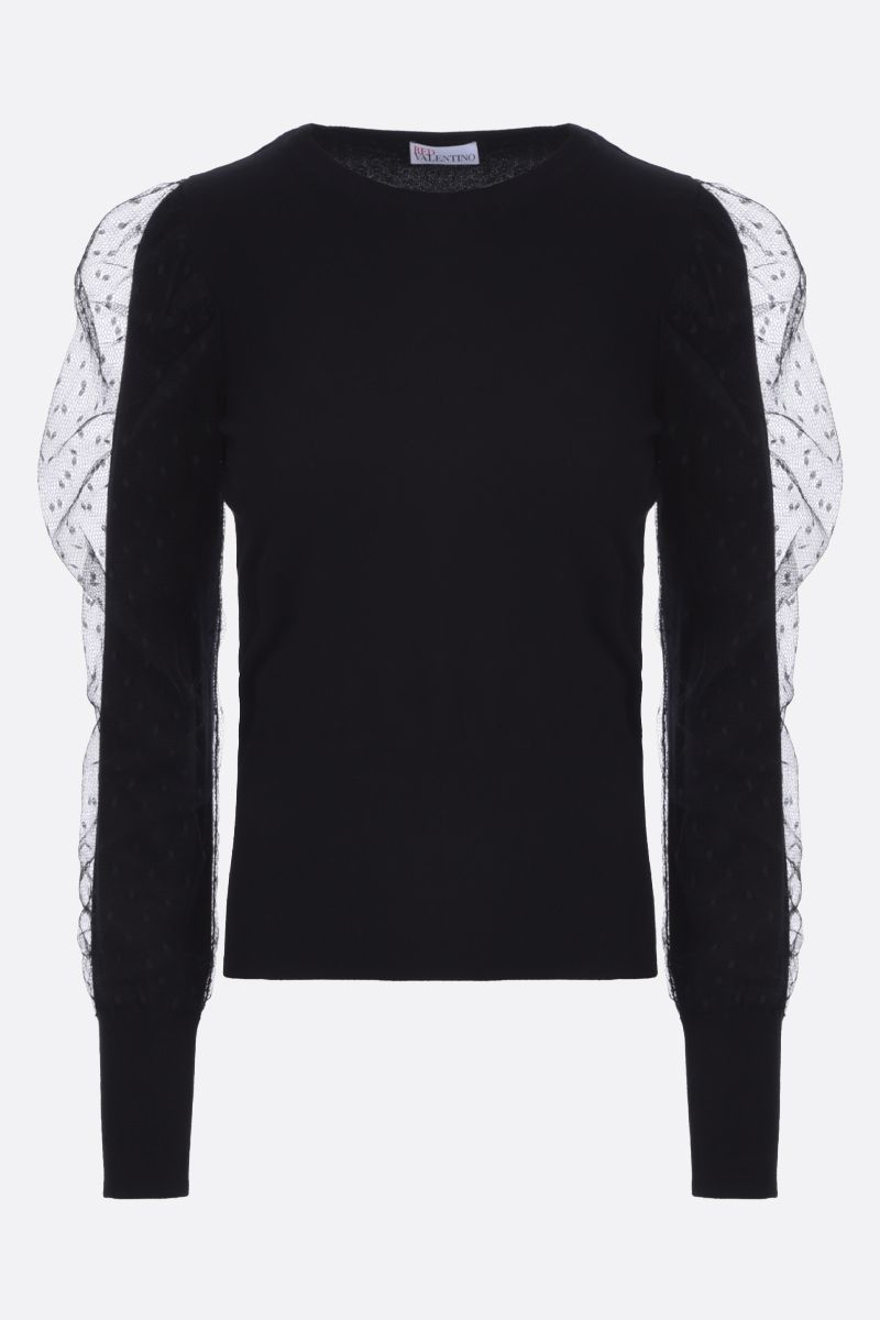 RED VALENTINO: tulle point d'esprit insert stretch knit pullover Color Black_1