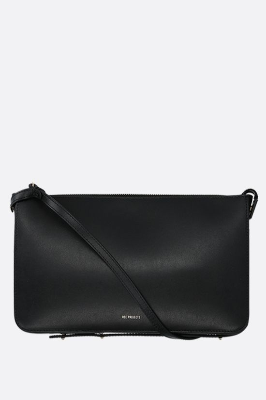 REE PROJECTS: Do smooth leather strap clutch Color Black_1