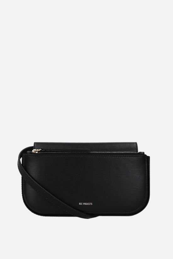 REE PROJECTS: Julie mini smooth leather crossbody bag Color Black_1