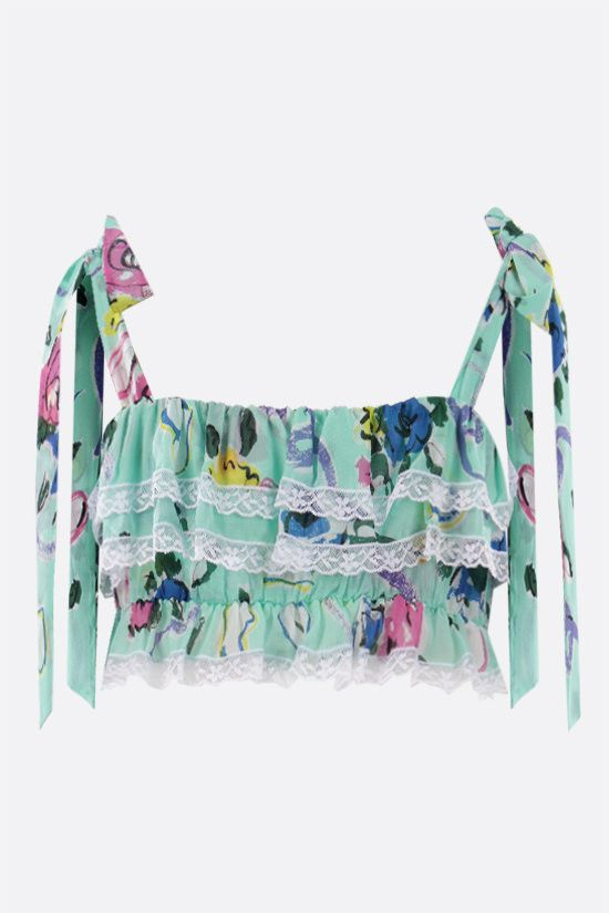 ALESSANDRA RICH: Floral Ribbon print crepe de chine cropped top Color Green_2