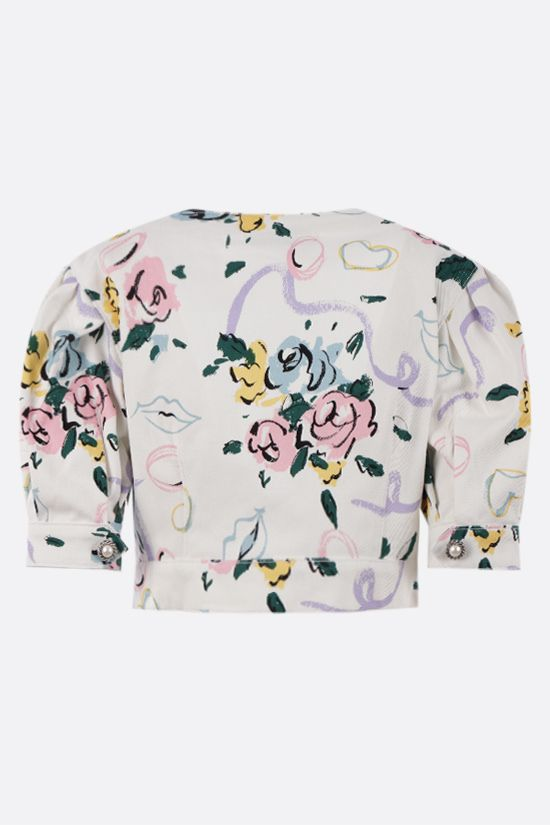 ALESSANDRA RICH: Floral Ribbon print gabardine cropped top Color White_2