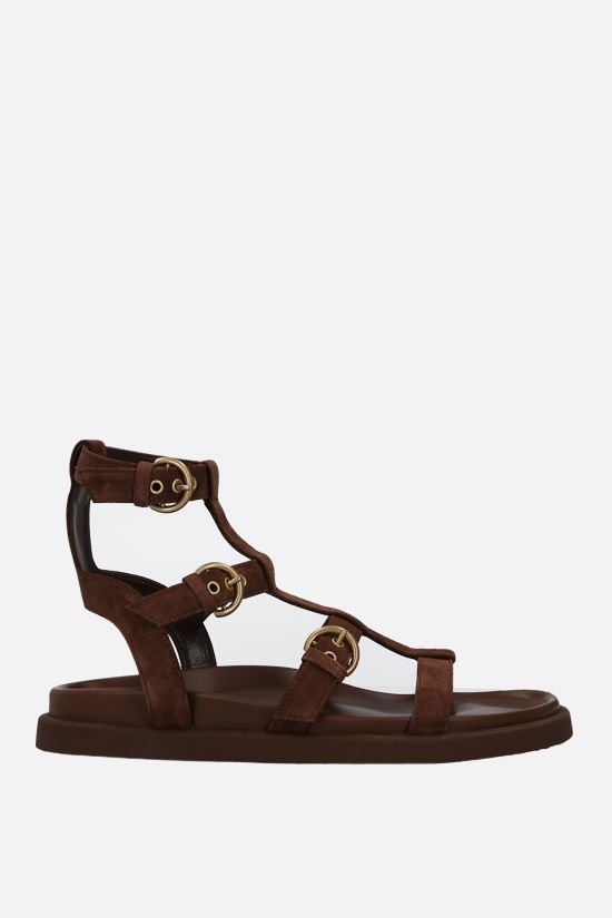 GIANVITO ROSSI: Arena suede flat sandals Color Brown_1